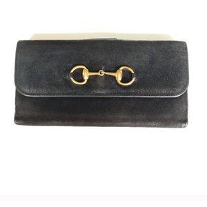 Gucci suede horsebit wallet